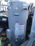 New high dollar commercial hot water heater natural gas 100 gallons body shell has shipping dents does not affect function of hook ups electronics all intact perfectly retails for right at $5000
