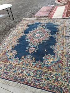 9x12 Kirman number 335 rug in Navy needs cleaned has one hole on and about an inch across pictured