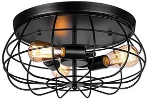 Vintage Semi Flush Mount Ceiling Light, Elibbren E26 Industrial Metal Cage Ceiling Light Fixture