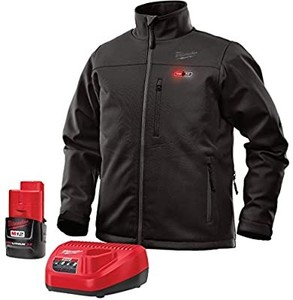 Milwaukee Jacket KIT M12 12V Lithium-Ion Heated Front and Back Heat Zones All Sizes and Colors - Battery Included (Extra Large, Black** usb charger