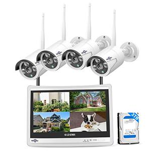 "Hiseeu [8CH Expandable] All in one with 12"" LCD Monitor Wireless Security Camera System, Home Business 8CH 1080P NVR Kit 4pcs 2MP Outdoor Bullet IP Cameras Night Vision Waterproof,3TB Hard Drive"