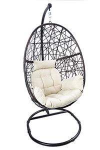 Luckyberry Egg Chair Rattan Swing Chair ~ Indoor/Outdoor Wicker Tear Drop Hanging Chair w/Stand