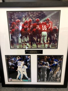 Kansas City Champions Chiefs Super Bowl IV 1969 & Royals World Series 1985, 2015 Framed Memorabilia (26in x 22in)