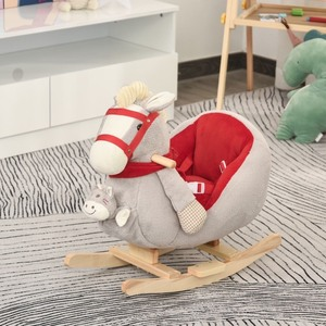 Qaba Kids Ride-On Rocking Horse Toy Rocker with Fun Song Music & Soft Plush Fabric for Children 18-36 Months - Grey
