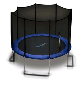 Serenelife 10 Foot Outdoor Trampoline And Safety Net Enclosure For Kids, Blue