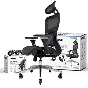 NOUHAUS Ergo3D Ergonomic Office Chair - Rolling Desk Chair with 3D Adjustable Armrest, 3D Lumbar Support and Blade Wheels - Mesh Computer Chair, Gaming Chairs, Executive Swivel Chair (Black)