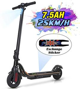 "MEGAWHEELS S10 Electric Scooter Commute to Work or Ride for Fun, 7500 mAh Long Range Battery, Up to 25 KM/H, 8.0"" Tires, Portable and Folding Commuter Electric Scooter for Adults (Black)"