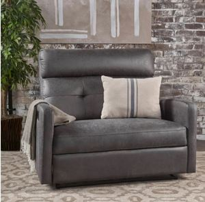 Halima Fabric 2-Seater Recliner Club Chair by Christopher Knight Home- Charcoal