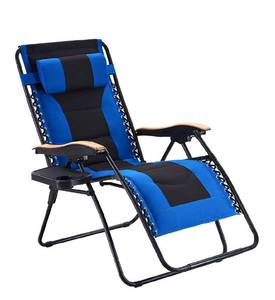 VICLLAX Oversize Padded Zero Gravity Chair Patio Lounge Chair with Cup Holder for Outdoor, Beach & Pool