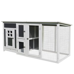 "PawHut 63"" Wood Large Indoor Outdoor Chicken Coop with Run& Nesting Box"