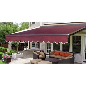ALEKO Motorized Half Cassette Retractable Patio Awning 20x10 ft Burgundy Color
