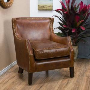 Carbon Loft Linden Vintage Brown Leather Club Chair - Retails for over $800!