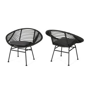 San Antonio Outdoor Woven Faux Rattan Chairs with Cushions (Set of 2) by Christopher Knight Home
