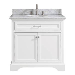 Home Decorators Collection Windlowe 37 in. W x 22 in. D x 35 in. H Bath Vanity in White with Carrera Marble Vanity Top in White with White Sink