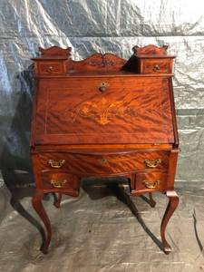 Antique Victorian Styled Intricate Detailed Wooden Writing Desk 30 x 17 x 47 Inches Location 1E