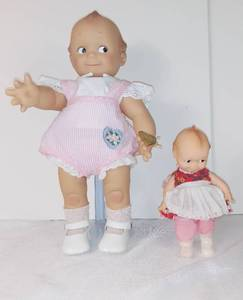 Lot Of Two EFFANBEE Dolls - 1 EFFANBEE KEWPIE ANNIVERSARY 16 INCHES DOLL With Stand, Pink Cloths - 1 Small EFFANBEE Baby Doll 8 Inches