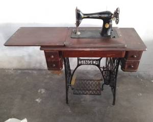 Antique Singer Sewing Machine With Cabinet - Wheel Still Turns Well