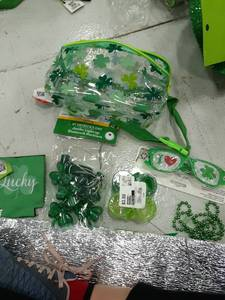 St Patricks Day Lot- Glasses, Hip Pack, Light Up Necklace, Beads, Shot Glasses, Lucky Koozie