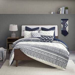 3pc King/California King Mila Cotton Printed Duvet Cover Set with Chenile Navy