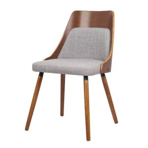 New in the box - Walnut Plywood and Grey Fabric Dining Chair with Solid Wood Legs- Retail:$113.49