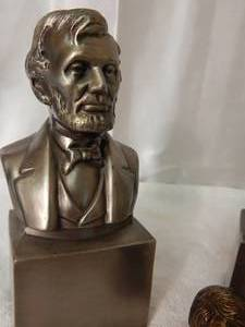 Lincoln Bookends and Bronze Figurine