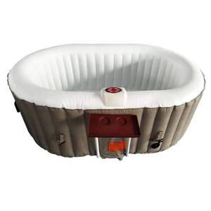 ALEKO Inflatable Hot Tub With Drink Tray Cover 2 Person Brown/White- Retail:$564.49