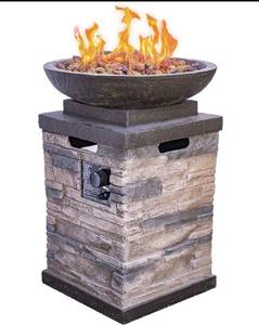 Bond Manufacturing (Model 63172) Newcastle Outdoor Propane Firebowl Column Realistic Look Fire Pit/Heater - Lava Rock - 40,000 BTU ~ Natural Stone