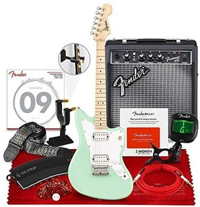 Squier Mini Jazzmaster Electric Guitar HH by, Maple Fingerboard, Surf Green, with Fender Frontman Amplifier 10G 120V, Clip-On Tuner, Nylon Jacquard Guitar Strap, and Essential Accessories