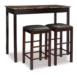 "Linon Tavern Collection 3-Piece Table Set with 25"" Stools, Espresso"