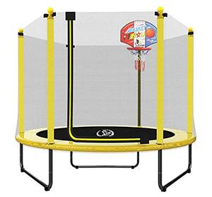 "LANGXUN 60"" Trampoline for Kids - 5ft Outdoor & Indoor Mini Toddler Trampoline with Enclosure, Basketball Hoop, Birthday Gifts for Kids, Gifts for Boy and Girl, Baby Toddler Trampoline Toys, Age 1-8"