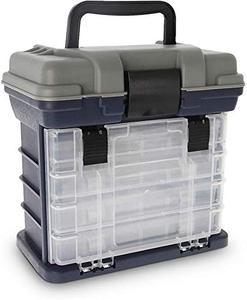 Croch Fishing Tackle Box with Portable 4 Layers Box,Bulk Storage under Lid Giving Room to Carry all kinds of Fishing Accessories, Including Fishing Lures, Sinkers, Floats, Line.(Without Fishing Accessories) DAMAGED