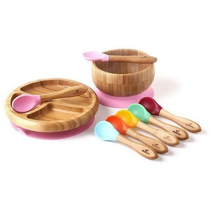 Avanchy Bamboo & Silicone Baby Bowl and plate set with spoons in pink. Retails: $59.99