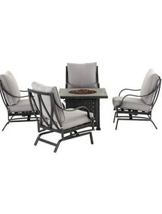 Hampton Bay Highland Point 4-Piece Aluminum Chairs & Cushions Grey