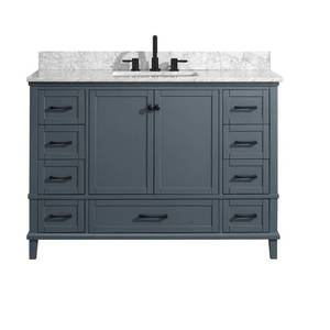 Home Decorators Collection Merryfield 49 in. W x 22 in. D Bath Vanity in Dark Blue-Gray with Marble Vanity Top in Carrara White with White Basin DAMAGED