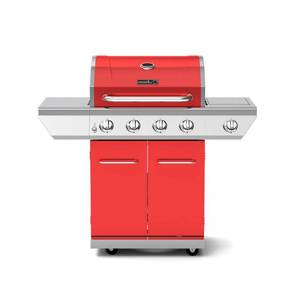 Nexgrill 4-Burner Propane Gas Grill in Red with Side Burner