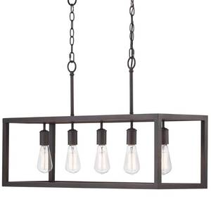 Home Decorators Collection Boswell Quarter 5-Light Distressed Black Island Chandelier
