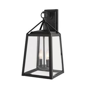 Home Decorators Collection Blakeley Transitional 2-Light Black Outdoor Wall Lantern with Beveled Glass
