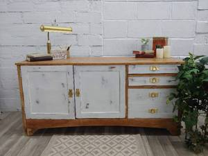 Upcycled Wood Desk w/ Gold Pulls