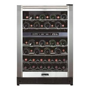 Magic Chef 44 Bottle Dual Zone Wine Cooler in Stainless Steel, Silver - Retail $400.00