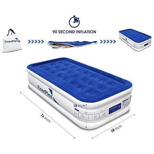 EnerPlex Dual Pump Luxury Twin Size Air Mattress Airbed with Built in Pump Raised Double High Twin Blow Up Bed for Home Camping Travel