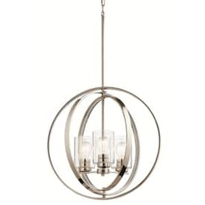 Kichler 20-in Polished nickel Art Deco Hardwired Single Clear Glass Orb Standard Pendant