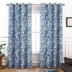 "Set of 2 - DriftAway Julia Sketch Blackout/Room Darkening Grommet Lined Thermal Insulated Energy Saving Window Curtains, 2 Layer, Set of Two Panels, Each 52""X84"" (Navy)"