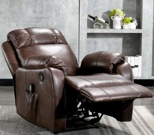 Leather Powered Recliner Chair with 8 Point Remote Control Massage- Retail:$516.99