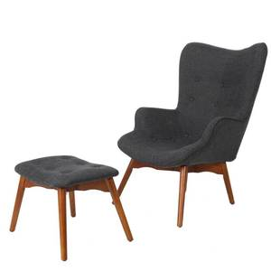 Hariata Mid-Century Modern Wingback Fabric Chair and Ottoman Set by Christopher Knight Home- Retail:$355.49