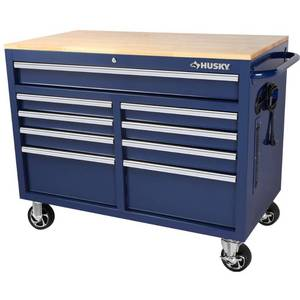 Husky 46 in. W 9-Drawer, Deep Tool Chest Mobile Workbench in Gloss Blue with Hardwood Top