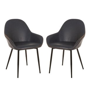 Glitzhome, LLC Glitzhome Vintage Leatherette Dining Armchair, Set of 2