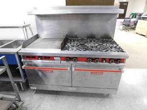 "Vulcan 60"" Double Oven Range 6 Burner With Griddle"