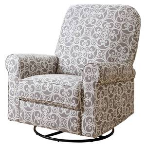 Jackson Grey and Cream Fabric Nursery Swivel Glider Recliner Chair- Retail Value $730.57