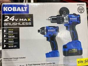 Kobalt 2-tool 24-volt Max Brushless Power Tool Combo Kit With Charger & Battery