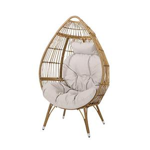 Christopher Knight Home Aimee Outdoor Wicker Teardrop Chair with Cushion, Beige and Light Brown